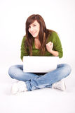 Beautiful teen girl with laptop Royalty Free Stock Photo