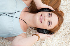 Beautiful teen girl listening to music Royalty Free Stock Image