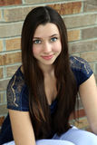 Beautiful teen girl with long hair. Beauty brunette teen girl with big eyes Royalty Free Stock Images
