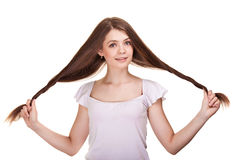 Beautiful teen girl with long hairs Stock Image