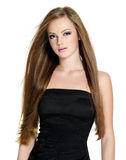 Beautiful teen girl with long straight hair Royalty Free Stock Photography