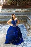 Beautiful teen girl. Lovely teen girl with a blue dress posing Stock Photos