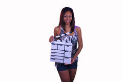 Beautiful Teen Girl with a Movie Slate Stock Image