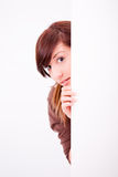 Beautiful teen girl peek Stock Images
