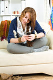 Beautiful teen girl with phone Royalty Free Stock Photography