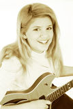 Beautiful Teen Girl Playing Electric Guitar Stock Photos