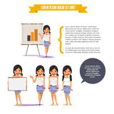Beautiful teen girl presenting on paperboard in various poses fo Royalty Free Stock Images