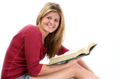 Beautiful Teen Girl Reading Book Royalty Free Stock Photography