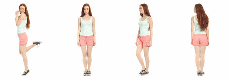 Beautiful teen girl in shorts. Set Stock Image