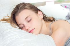 Free Beautiful Teen Girl Sleeping In Bed. Royalty Free Stock Photography - 101993877