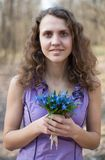 Beautiful teen girl smell Royalty Free Stock Photo