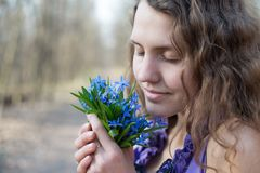 Beautiful teen girl smell Stock Photos