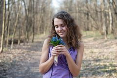 Beautiful teen girl smell Royalty Free Stock Photos