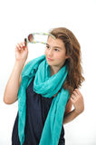 Beautiful teen girl with sunglasses and blue scarf posing Royalty Free Stock Photos