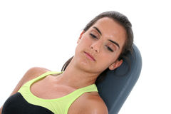 Beautiful Teen Girl Sweating Resting On Workout Bench Stock Photos