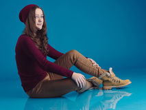 Beautiful teen girl in trendy clothes Stock Photos
