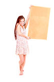 Beautiful teen girl whit cork board Royalty Free Stock Image