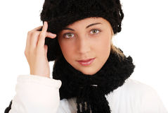 Beautiful teen girl with winter hat and scarf Stock Photo