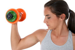 Beautiful Teen Girl Working Out With Hand Weights Stock Images