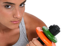Beautiful Teen Girl In Workout Clothes And Hand Weights Stock Image