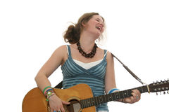 Beautiful teen guitarist Stock Images