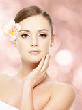 Beautiful teen with healthy skin stock photo