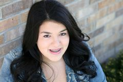 Beautiful teen hispanic girl with braces Stock Photography