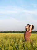 Beautiful Teen Lady Closed Eyes in Field Stock Photo