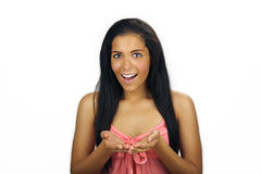 Beautiful Teen Latina with Cupped Hands Royalty Free Stock Images
