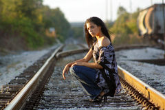 Beautiful Teen Latina on Railroad Tracks (1) Stock Photos