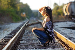 Beautiful Teen Latina on Railroad Tracks (2) Royalty Free Stock Image