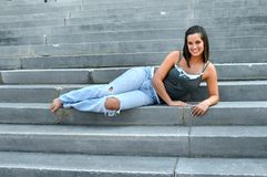 Beautiful Teen on Steps Royalty Free Stock Photos