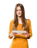 Beautiful teen using tablet computer. Stock Photo