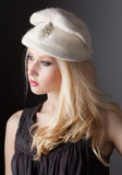 Beautiful Teen in Vintage Hat. A portrait of a gorgeous young model wearing a white vintage hat Royalty Free Stock Photography