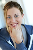 Beautiful teen woman with blue eyes Royalty Free Stock Photo
