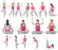 Beautiful teen woman doing yoga exercise Stock Photos