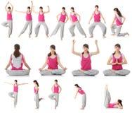 Beautiful teen woman doing yoga exercise stock photos