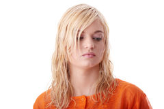 Beautiful teen woman in orange shirt Royalty Free Stock Photos