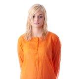 Beautiful teen woman in orange shirt Royalty Free Stock Photos