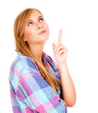 Beautiful teen woman pointing up Royalty Free Stock Images