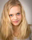 Beautiful Teenage Blond Girl With Long Hair Stock Photography
