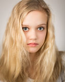 Beautiful Teenage Blond Girl With Long Hair Stock Photo