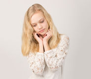 Beautiful Teenage Blond Girl With Long Hair Stock Image
