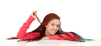 Beautiful teenage girl with african plaits resting Royalty Free Stock Image