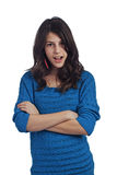 Beautiful teenage girl with arms crossed Stock Images