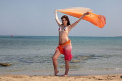Beautiful teenage girl on the beach Stock Photo