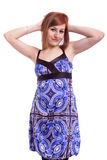 Beautiful teenage girl with a blue dress Royalty Free Stock Photo
