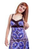 Beautiful teenage girl with a blue dress Stock Images