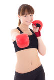 Beautiful teenage girl in boxing gloves isolated on white Stock Photos