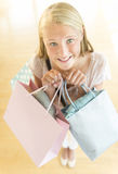 Beautiful Teenage Girl Carrying Shopping Bags Royalty Free Stock Photos